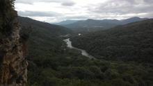 ст. Даховская в долине, вид со скал хр Уна-Коз